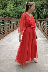 ICONIC Vintage RED prom angel festival 1970s MIKE BENET Flowy Chiffon Dress XS/S