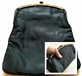 "ART DECO ERA Vintage 1930s QUILTED SATIN/RHINESTONE ""Foldable Clutch"" Bag Purse"