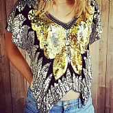 Vintage 1980s ORLET'S India Silk Sequin Beaded art deco BUTTERFLY Blouse Top