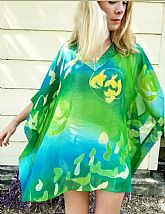 RESORT WEAR NWT $395 DIANE FREIS Vintage 90s PAINTED/BEADED Poncho Tunic Top