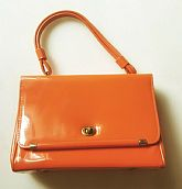 Vintage 1960s Mod Orange Vinyl Purse