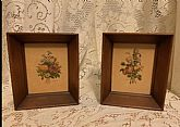 Pair of wooden, shadow box floral prints