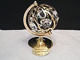 Austrian Crystal GP Globe Ornament by Crystal Delight, Vintage 24kt gold plated miniature globe on stand with tags, Mascot USQ,