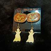 "This is two pairs of New-old-stock Jack-O-lantern and ghost earrings.They are costume jewelry.On the original card!The jack-o-lanterns are 1"" wide and the ghosts 1 3/8"" long."