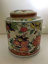 Asian Floral Design Round Tin Made In England