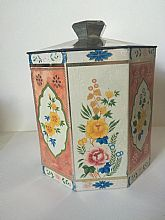 Box Container Old vintage Guy's Swedish metal tea tin Det Goda Teet retro kitchen decor 1940s Collectibles