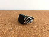 Vintage Sterling silver Men ring , Onyx black stone